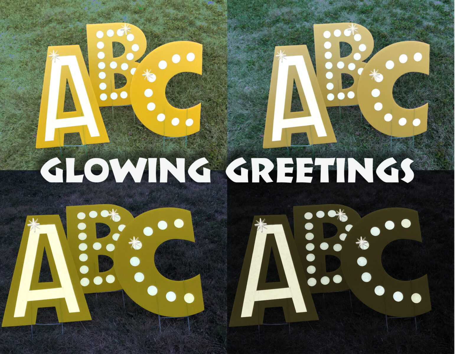 Highly Reflective Vinyl Yard Accents that glow at night